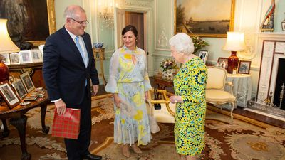 Mr Morrison and Jenny Morrison meeting the Queen