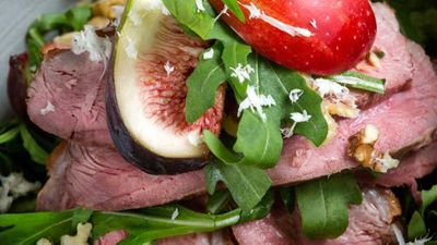 """Recipe: <a href=""""http://kitchen.nine.com.au/2017/05/30/10/44/ian-curleys-duck-breast-salad-with-fig-apple-and-watercress"""" target=""""_top"""">Ian Curley's duck breast salad with fig, apple and watercress</a>"""