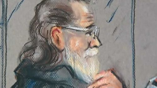 A courtroom sketch of Robert John Fardon.