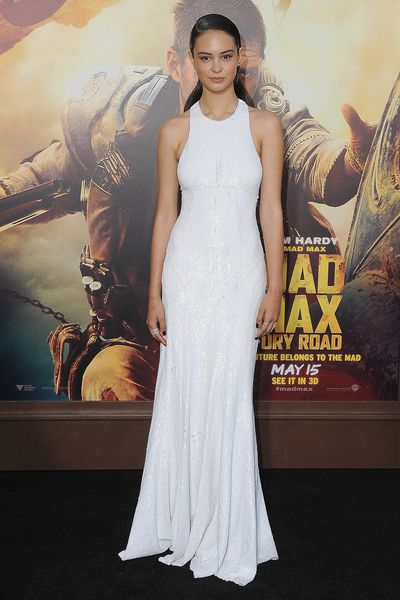 <p>In Michael Kors and Repossi jewels at the 'Mad Max: Fury Road' LA premiere in May.</p>