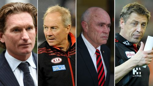 A secret recording of a meeting between James Hird, Danny Corcoran, Paul Little and Mark Thompson has been released. (AAP)