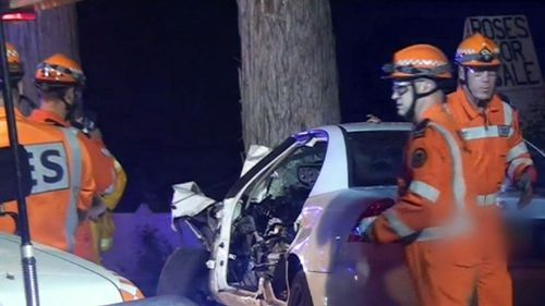 Currey told detectives at the time of the crash that she saw a face in the trunk of a tree, became startled and crashed the car. Picture: 9NEWS.