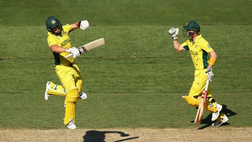 Aaron Finch and George Bailey celebrate the opener's ton. (Getty)