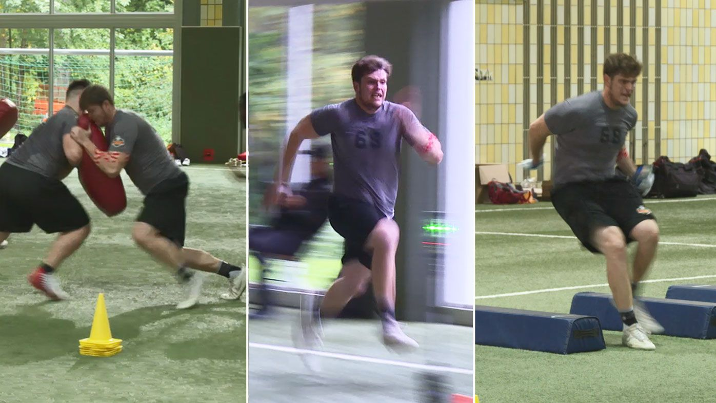 Joel Maddock, from Australia, at the 2019 NFL International Combine