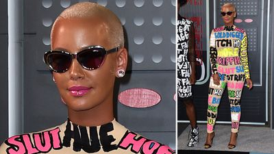 Singer Amber Rose wore her heart (and a few thoughts) on her sleeve. And her chest. And her legs. (AAP)