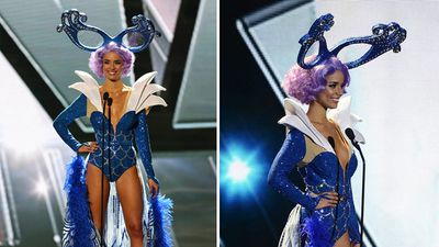 Miss Australia, Monika Radulovic, competing in the national costume contest in an outfit inspired by Australia's Dame Edna. (Getty/AAP)