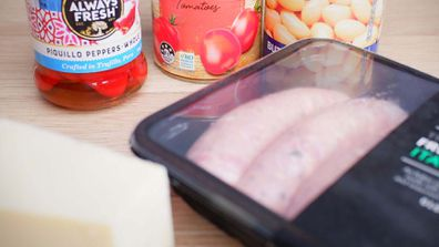 Just five-ingredients for a bean and meatball bake