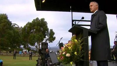 Prime Minister Malcolm Turnbull addressing the memorial service today. (9NEWS)