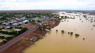 <p>Floodwaters near the town.</p><p>Winton received 120mm of rain on Wednesday, making it the town's wettest March day since 1994.</p><p>(Supplied / Nick McGrath, Winton Shire Council)</p>