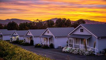Sun setting over accommodation at Nimbo Fork Lodge, Killimicat.