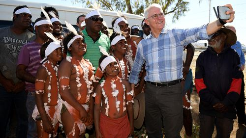 Mr Turnbull was given a welcome to country in the local language. Picture: AAP