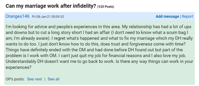 The woman has asked for advise on Mumsnet.