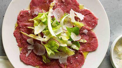 Organic beef carpaccio with Piedmontese vegetables