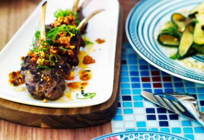 Chargrilled lamb with green chilli and sesame sauce