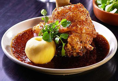 Crispy pork knuckle with soy mustard sauce