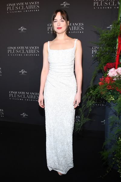 Dakota Johnson in Prada at the <em>Fifty Shades Freed</em>&nbsp; premiere in Paris, France, February, 2018