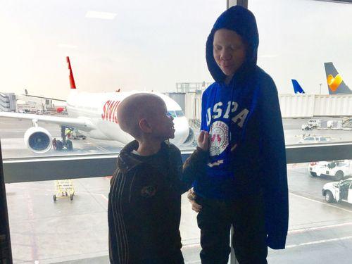 Braka and Mwigulu flew to New York for their prosthetics. (Image: ABC News America)