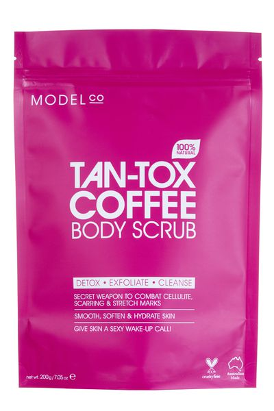 """<a href=""""https://www.modelcocosmetics.com/shop/tan-tox"""" target=""""_blank"""">ModelCo Tan-Tox Coffee Body Scrub, $20.</a><br /> The scrub is formulated with a blend of pure coffee granules, sweet almond oil and vitamin E to deliver long-lasting hydration, leaving skin silky smooth, supple and nourished. Word is it also eases cellulite. Get onto it now."""