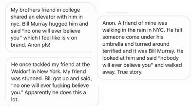 Deuxmoi receives heaps of messages about Bill Murray like these