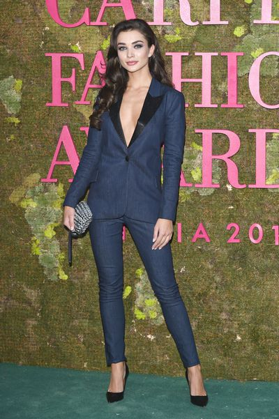 British actress and model Amy Jackson wears a custom tuxedo made by french label L'AGENCE in collaboration with Nordic design house ISKO Denim.