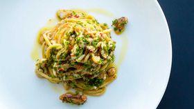 Spaghetti with spanner crab, garlic, chilli, parsley and lemon