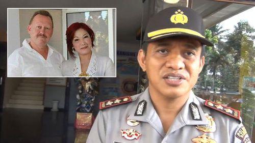 Badung police chief Komang Suartana and inset, victim Robert Ellis and his accused wife Noor Ellis. (9NEWS)