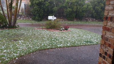 Hail at Parkinson. (Supplied, Susan and Damian)