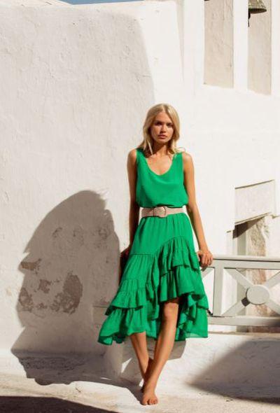 <p>Mister Zimi green silk Scarlett skirt, $270, and green silk Rosie cami, $110</p>
