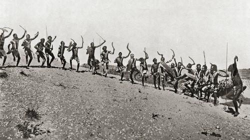 A war dance in the Kimberleys in Western Australia, 19th century.