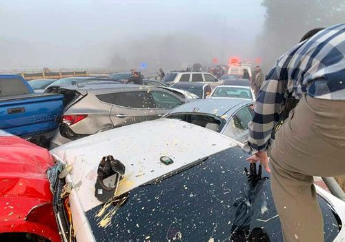 Nearly 70 cars have crashed on a major US highway.