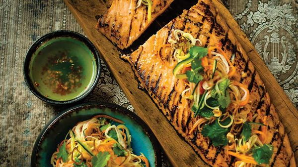 Chargrilled salmon with hot and sour dressing and pickled vegetable salad_THUMB