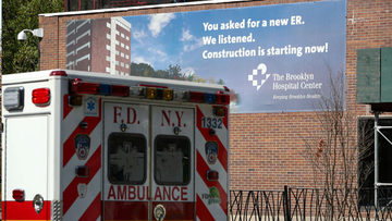 NEW YORK, USA - SEPTEMBER 28: An ambulance is seen by the Brooklyn Hospital Center in Brooklyn of New York City, United States on September 28, 2020. New York, which contained the nationâs worst Covid-19 outbreak, reported more than 1,000 new cases for the first time since early June. New U.S. cases crept above the pace of recent days. (Photo by Tayfun Coskun/Anadolu Agency via Getty Images)