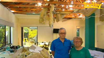 Massive hailstorms tore through the couple's roof, living it mangled.
