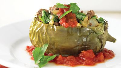"Recipe: <a href=""http://kitchen.nine.com.au/2016/05/13/11/44/lamb-in-eggplant-boats"" target=""_top"">Lamb in eggplant boats</a>"