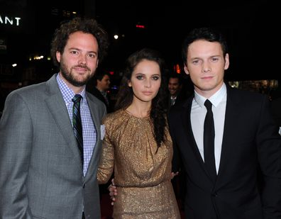 Drake Doremus, Anton Yelchin and Felicity Jones at the premiere of 'Like Crazy' in 2015.