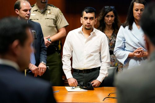 Cristhian Bahena Rivera watches as the jury enters the courtroom before announcing the verdict in his trial