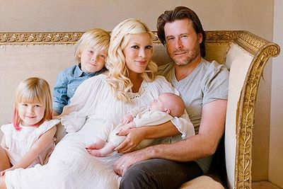 "<b>Parents: </b>Tori Spelling and Dean McDermott<p> The very next day after giving birth mum took to the Twitter airwaves to announce the good news to the world: ""Our family's so happy 2 announce tht 10/10/11 was born at 7:08am!"" she wrote."