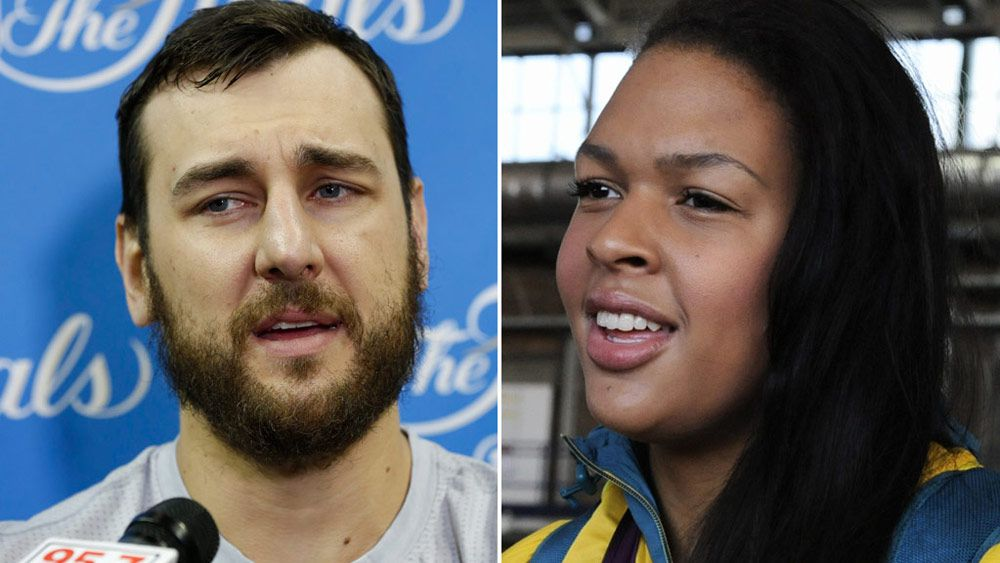 Andrew Bogut and Liz Cambage. (AAP)