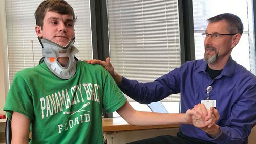 Brock Meister was lucky to survive after an 'internal decapitation' in a car crash.