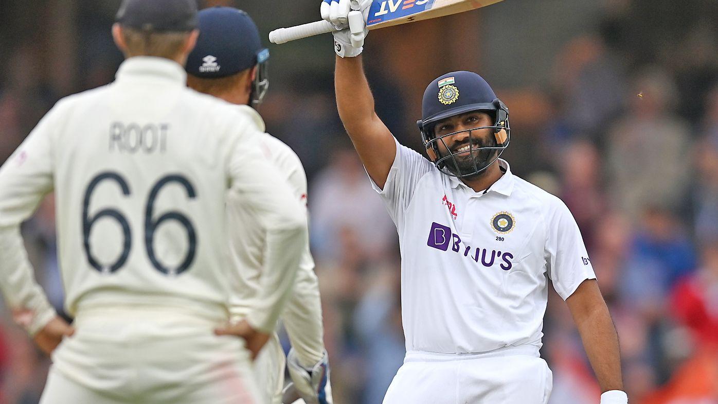 Rohit Sharma of India celebrates reaching his century