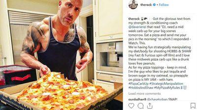 The Rock demolishes Hawaiian pizza in one sitting