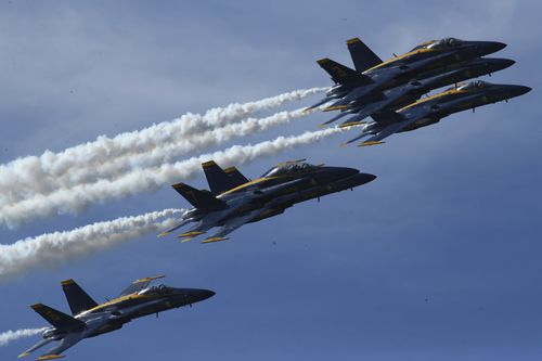 President Donald Trump will include a flight demonstration by the US Navy Blue Angels.