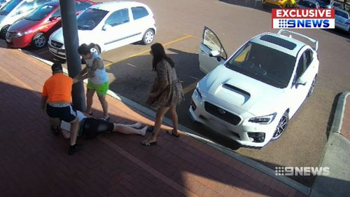 A man in Perth's north has been knocked unconscious after calling out a group who parked illegally in a disabled parking spot.