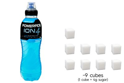 Powerade Ion4: 35g sugar per 600ml bottle