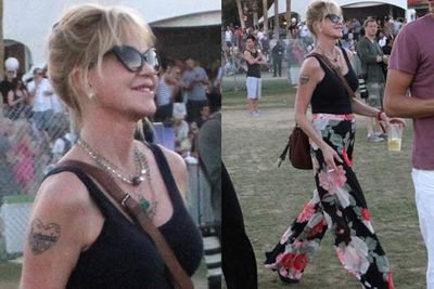 Those pants should have never left the '90s, but Melanie walks with confidence and pulls it off.<br/><br/><i>Melanie Griffith at Coachella Festival 2012 <br/>Image: Snappermedia</i>