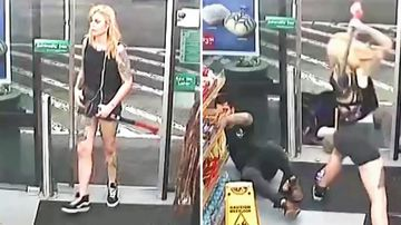 A supplied CCTV screenshot obtained Tuesday, July 31, 2018 of CCTV footage tendered to the NSW District Court showing Evie Amati using an axe to strike two customers to the ground in a 7-Eleven convenience store at Enmore.