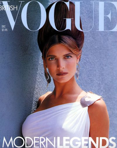 Stephanie Seymour on the cover of UK <em>Vogue</em>, November 1988 by Herb Ritts