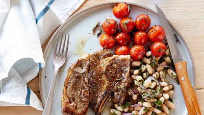 """Recipe:&nbsp;<a href=""""http://kitchen.nine.com.au/2017/03/13/12/14/lamb-forequarter-chops-with-roasted-tomatoes-and-white-bean-salad"""" target=""""_top"""" draggable=""""false"""">Lamb forequarter chops with roasted tomatoes and white bean salad</a>"""