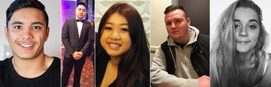 (L-R) Joshua Tam, Hoang Nathan Tran,  Diana Nguyen, Callum Brosnan, Alex Ross-King, who all died at a Sydney music festival.