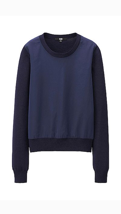 "<a _tmplitem=""8"" href=""http://www.uniqlo.com/au/store/women-merino-blend-combination-sweater-1314000011.html#colorSelect""> Merino Blend Combination Sweater, $49.90, Uniqlo</a>"